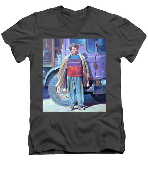 Men's V-Neck T-Shirt featuring the painting Tipperman 1970. by Mike Jeffries