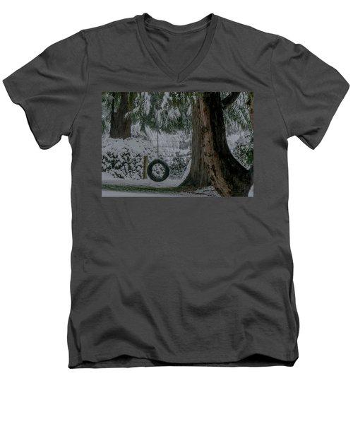 Tire Swing In Winter Men's V-Neck T-Shirt