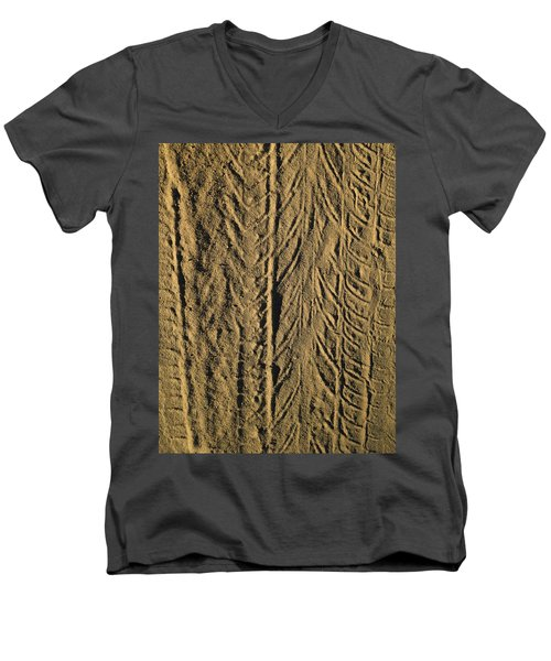 Men's V-Neck T-Shirt featuring the photograph Tire Tracks by R  Allen Swezey