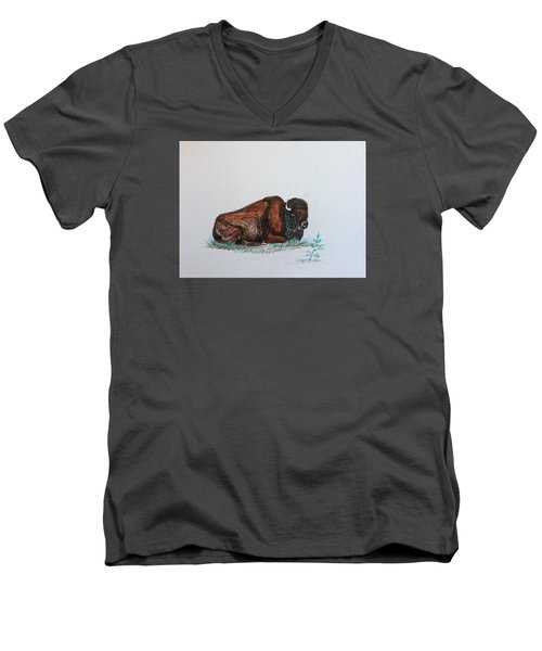 Men's V-Neck T-Shirt featuring the drawing Tired Bison by Ellen Canfield