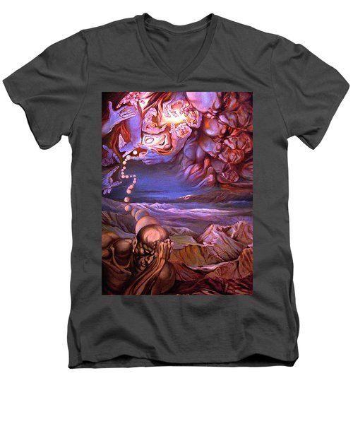 Men's V-Neck T-Shirt featuring the painting Titan In Desert Or Theft Of Intentions by Mikhail Savchenko