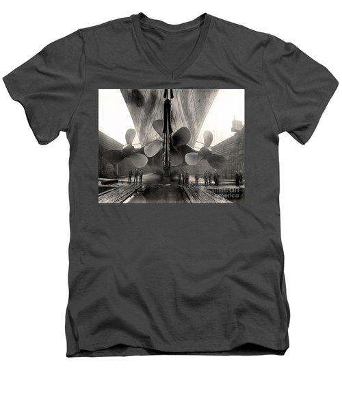 Titanic's Propellers  Men's V-Neck T-Shirt