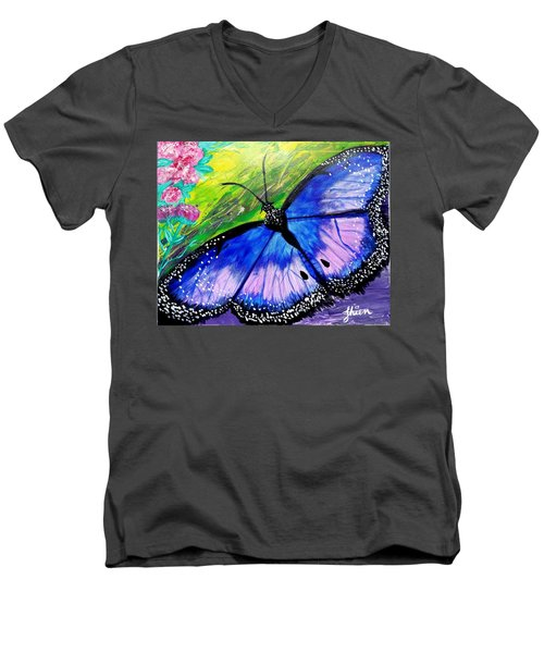 Titanium Butterfly Men's V-Neck T-Shirt