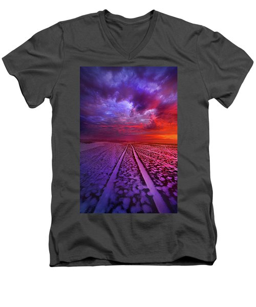 Men's V-Neck T-Shirt featuring the photograph To All Ends Of The World by Phil Koch