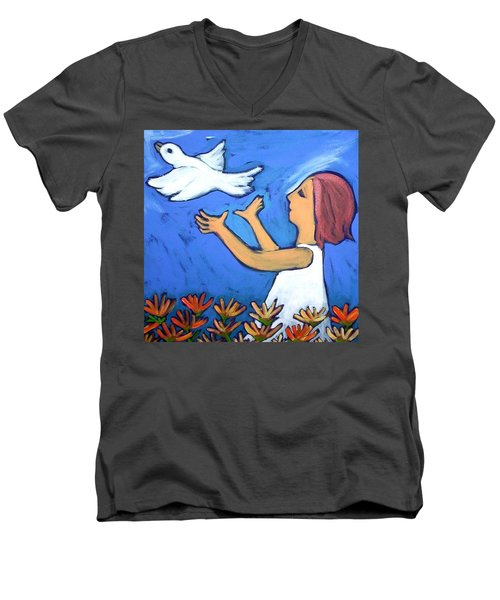 Men's V-Neck T-Shirt featuring the painting To Fly Free by Winsome Gunning