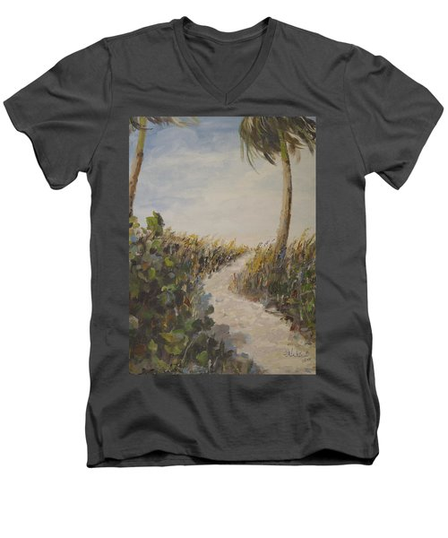 To The Beach Men's V-Neck T-Shirt by Alan Lakin