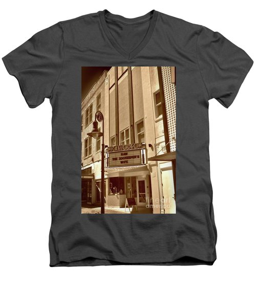 Men's V-Neck T-Shirt featuring the photograph To The Movies by Skip Willits