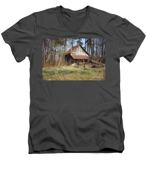 Men's V-Neck T-Shirt featuring the photograph Tobacco Barn In Spring by Benanne Stiens