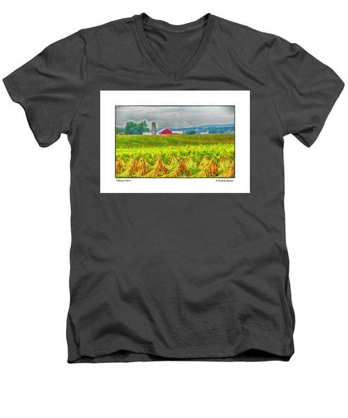 Men's V-Neck T-Shirt featuring the photograph Tobacco Farm by R Thomas Berner