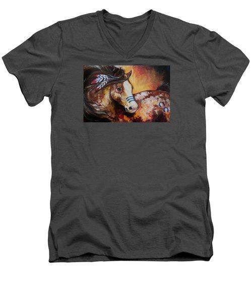 Tobiano Indian War Horse Men's V-Neck T-Shirt by Marcia Baldwin