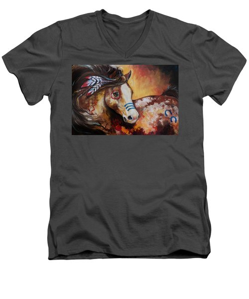 Tobiano Indian War Horse Men's V-Neck T-Shirt
