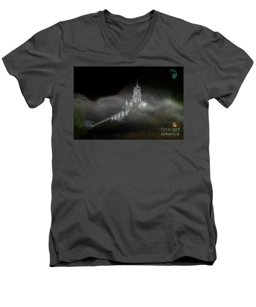 Men's V-Neck T-Shirt featuring the photograph Todos Santos In The Fog by Al Bourassa
