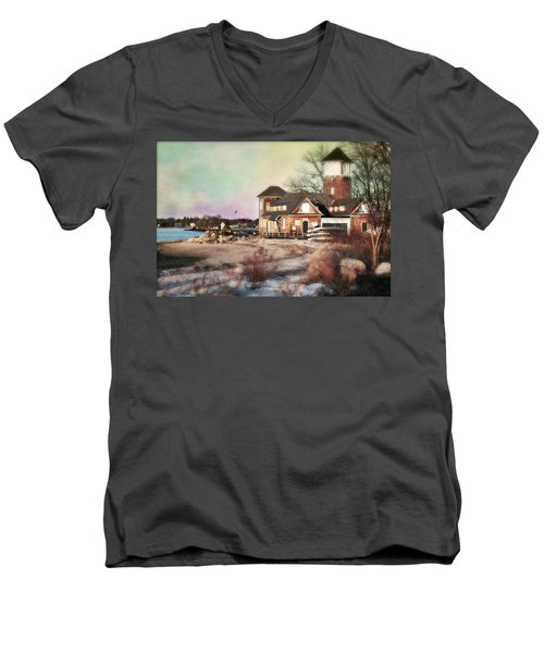 Tod's Point Beach House Men's V-Neck T-Shirt by Diana Angstadt