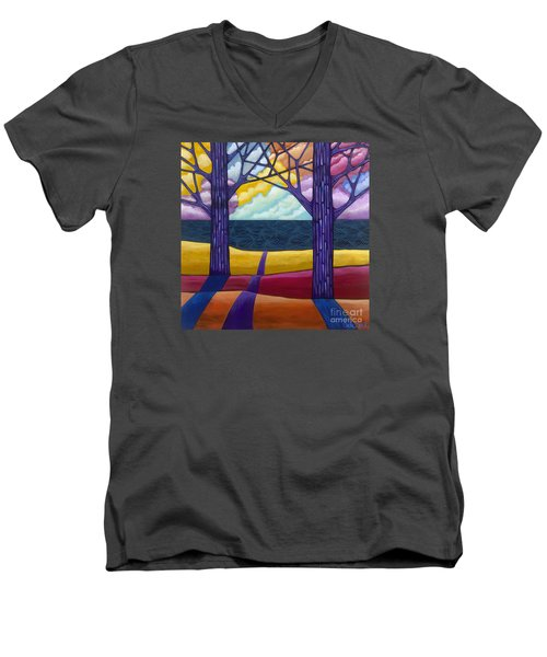 Men's V-Neck T-Shirt featuring the painting Together Forever by Carla Bank