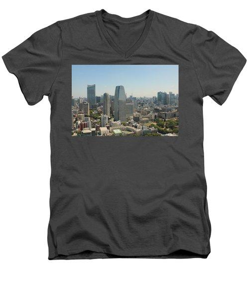 Tokyo Skyline Men's V-Neck T-Shirt by Jacob Reyes