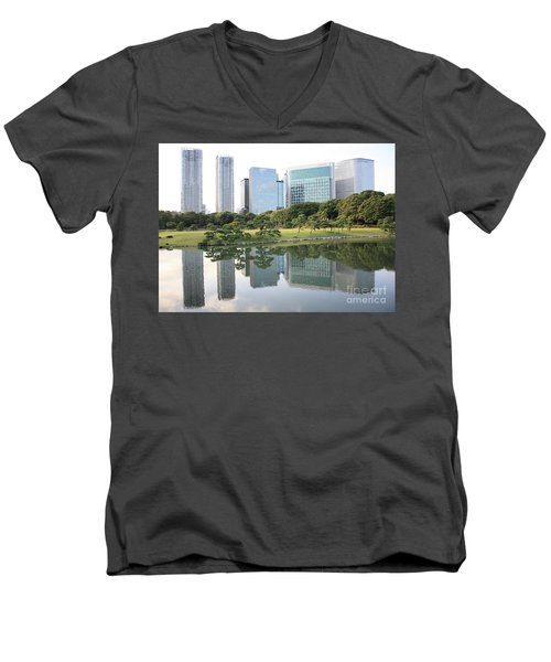 Tokyo Skyline Reflection Men's V-Neck T-Shirt by Carol Groenen