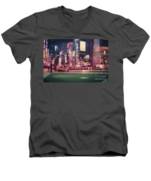 Tokyo Street At Night, Japan 2 Men's V-Neck T-Shirt