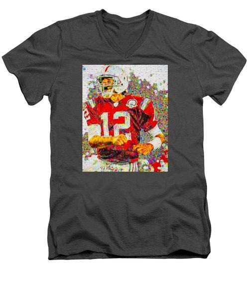 Tom Brady New England Patriots Football Nfl Painting Digitally Men's V-Neck T-Shirt by David Haskett