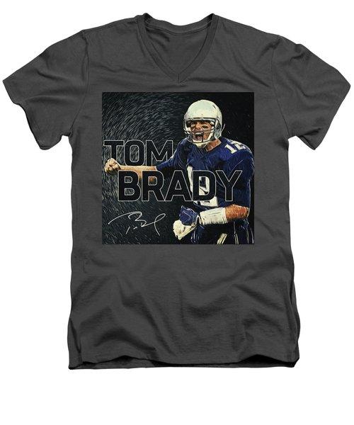 Tom Brady Men's V-Neck T-Shirt by Taylan Apukovska
