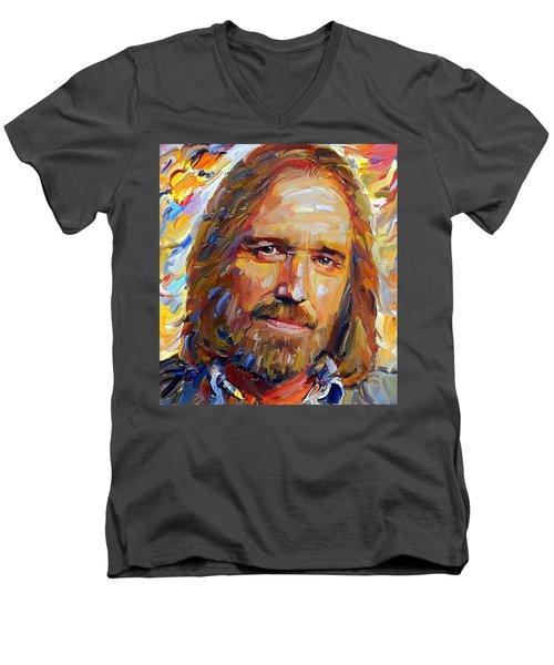 Tom Petty Tribute Portrait 1 Men's V-Neck T-Shirt