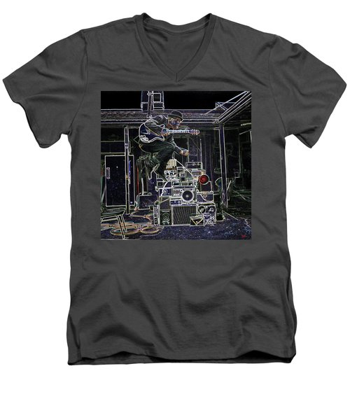 Men's V-Neck T-Shirt featuring the mixed media Tom Waits Jamming by Charles Shoup