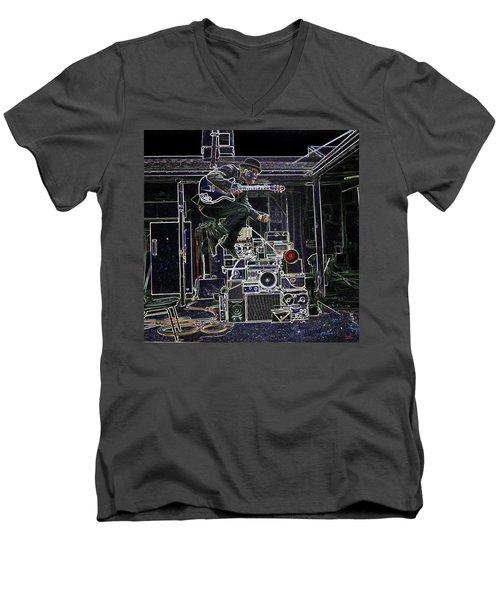 Tom Waits Jamming Men's V-Neck T-Shirt by Charles Shoup