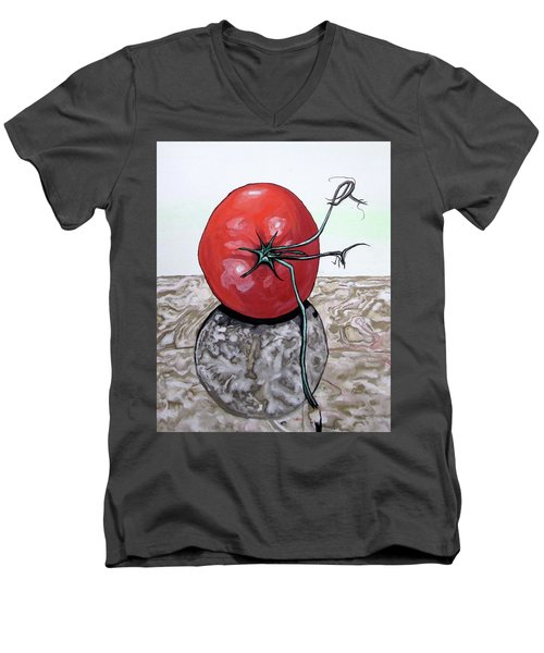 Tomato On Marble Men's V-Neck T-Shirt by Mary Ellen Frazee