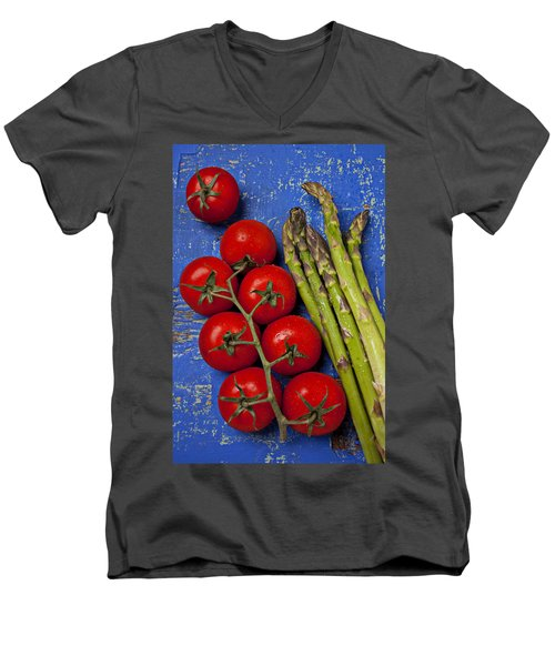 Tomatoes And Asparagus  Men's V-Neck T-Shirt by Garry Gay