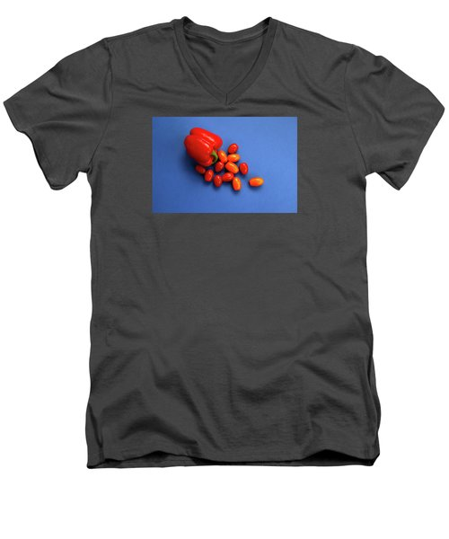 Tomatoes And Capsicum On Blue Men's V-Neck T-Shirt