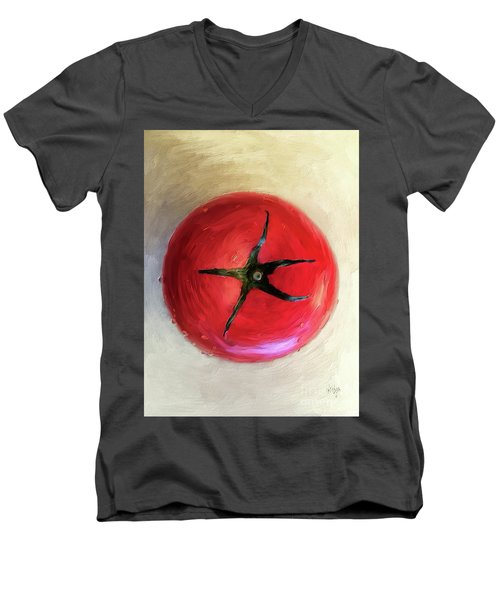 Men's V-Neck T-Shirt featuring the digital art Tomato by Lois Bryan
