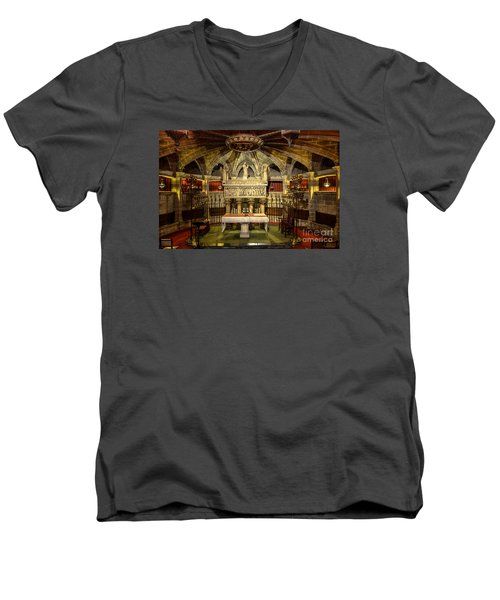 Tomb Of Saint Eulalia In The Crypt Of Barcelona Cathedral Men's V-Neck T-Shirt