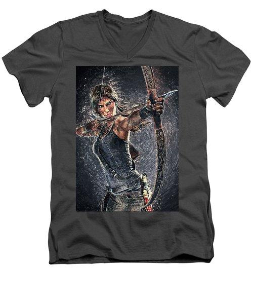Men's V-Neck T-Shirt featuring the digital art Tomb Raider by Taylan Apukovska