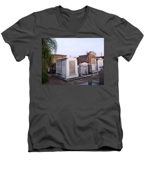 Tombs In St. Louis Cemetery Men's V-Neck T-Shirt by Alys Caviness-Gober