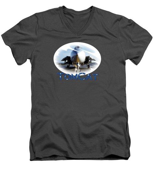 Men's V-Neck T-Shirt featuring the photograph Tomcat by DJ Florek