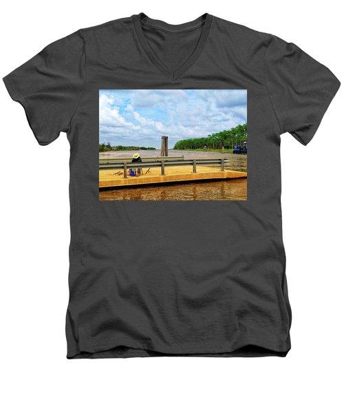 Too Hot To Fish Men's V-Neck T-Shirt