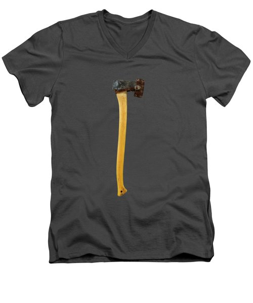 Men's V-Neck T-Shirt featuring the photograph Tools On Wood 11 On Bw by YoPedro