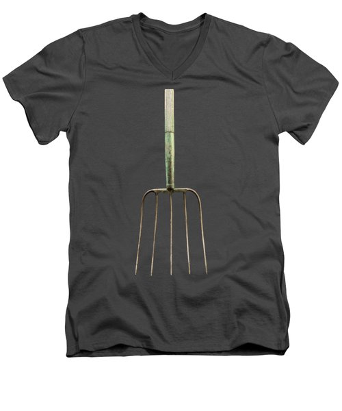 Men's V-Neck T-Shirt featuring the photograph Tools On Wood 7 On Bw by YoPedro
