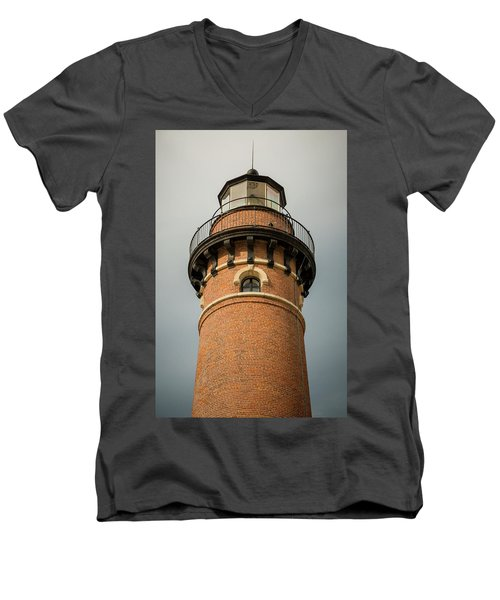 Men's V-Neck T-Shirt featuring the photograph Top Of Little Sable Point Lighthouse by Adam Romanowicz