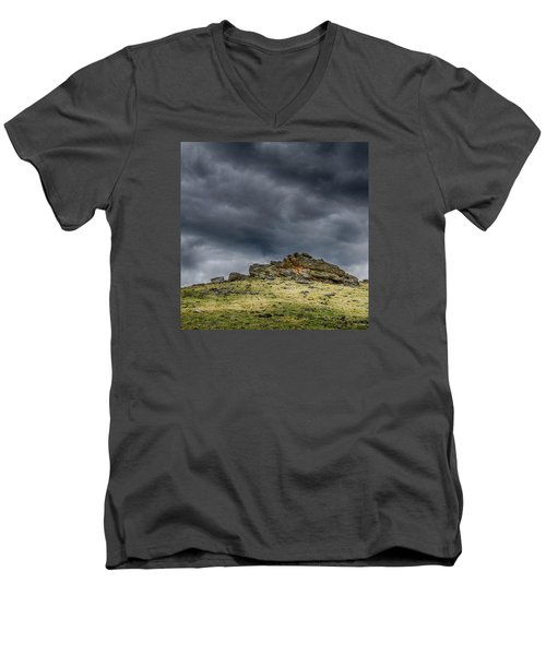 Top Of The Mountain Men's V-Neck T-Shirt by Mary Angelini