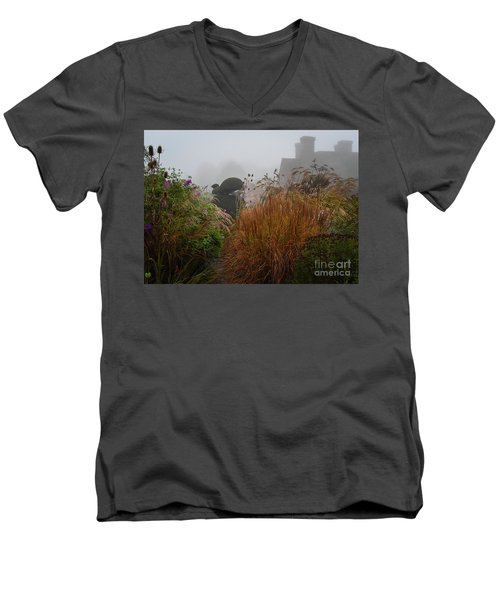 Topiary Peacocks In The Autumn Mist, Great Dixter 2 Men's V-Neck T-Shirt