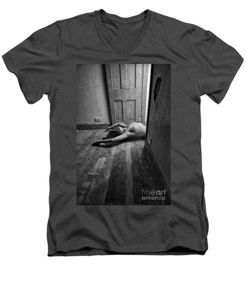 Topless Woman In Doorway Men's V-Neck T-Shirt