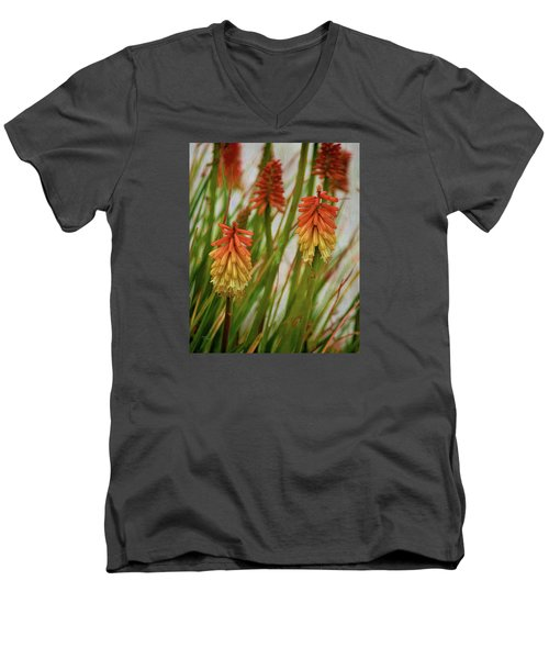 Torch Lily At The Beach Men's V-Neck T-Shirt by Sandi OReilly