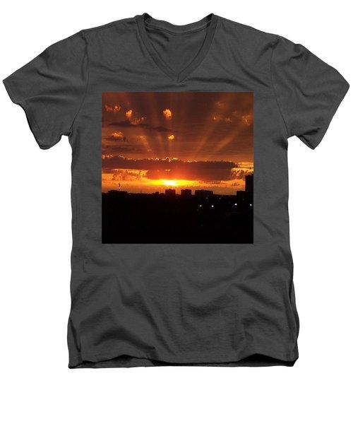 Toronto - Just One Breathtaking Sunset Men's V-Neck T-Shirt by Serge Averbukh