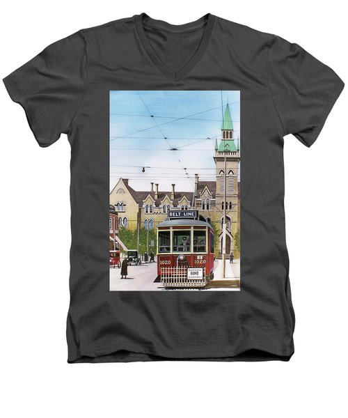 Men's V-Neck T-Shirt featuring the painting Toronto Belt Line by Kenneth M Kirsch