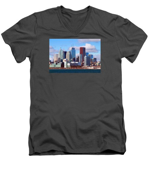 Men's V-Neck T-Shirt featuring the photograph Toronto Core by Valentino Visentini