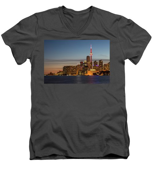 Men's V-Neck T-Shirt featuring the photograph Toronto Skyline At Dusk by Adam Romanowicz