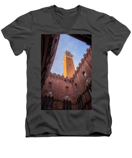 Men's V-Neck T-Shirt featuring the photograph Torre Del Mangia Siena Italy by Joan Carroll