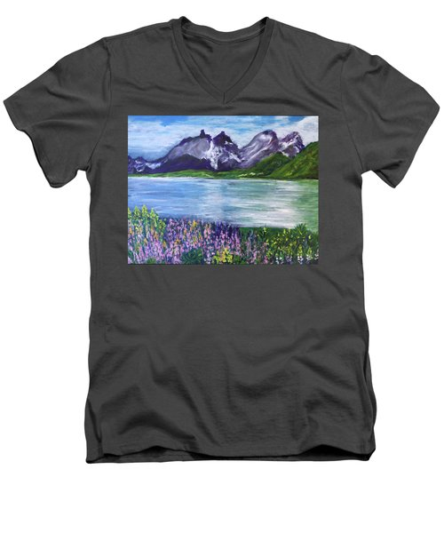 Torres Del Paine In Chile Men's V-Neck T-Shirt