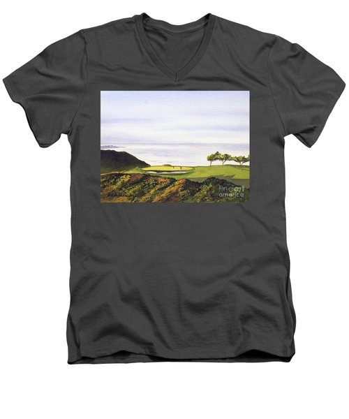 Men's V-Neck T-Shirt featuring the painting Torrey Pines South Golf Course by Bill Holkham