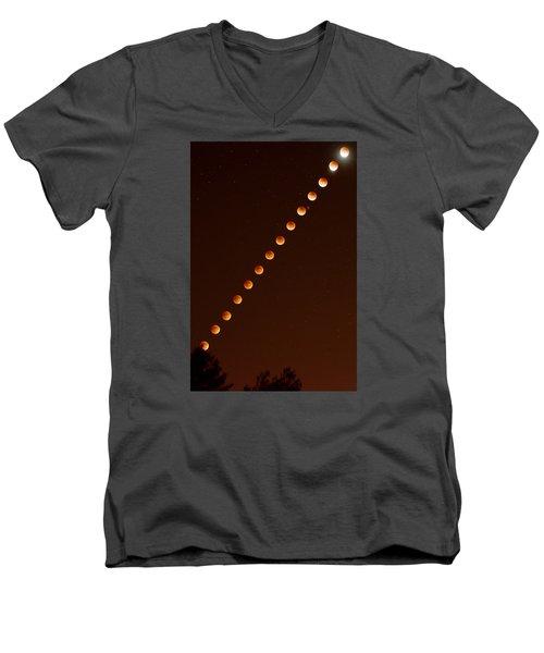 Total Lunar Eclipse September 27 2015 Men's V-Neck T-Shirt by Brian Lockett